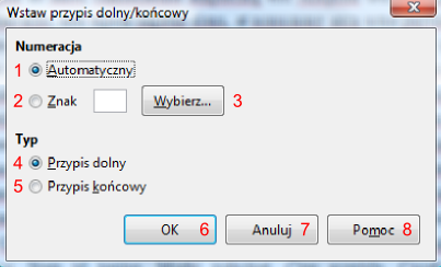 Okno Wstaw przypis dolny/końcowy w programie Writer pakietu LibreOffice