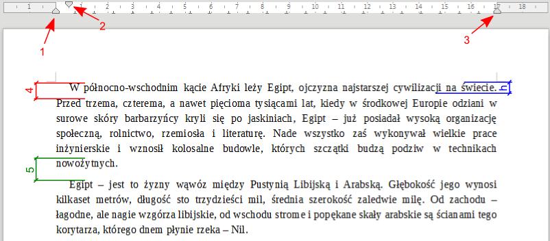 Elementy związane z rozmieszczeniem tekstu w programie Writer pakietu LibreOffice
