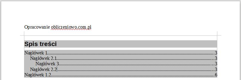 Przykład utworzonego spisu treści w programie Writer pakietu LibreOffice