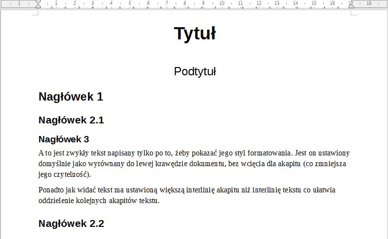 Przykład użycia nazwanych styli w programie Writer pakietu LibreOffice