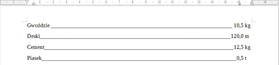 Przykład wykorzystania znacznika wyrównywania do znaku separatora dziesiętnego w programie Writer pakietu LibreOffice