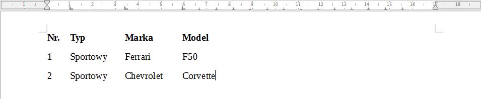 Przykład zastosowania znaczników wyrównania do lewej strony w programie Writer pakietu LibreOffice