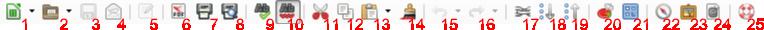 Standardowy pasek narzędziowy programu Calc pakietu LibreOffice