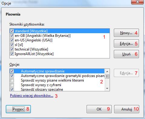 Okno Opcje w programie Writer pakietu LibreOffice