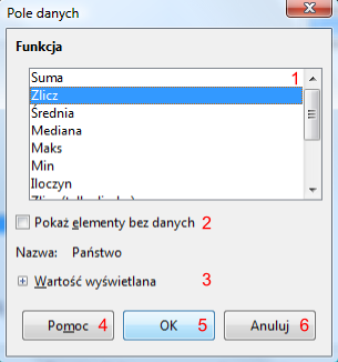 Okno Pole danych programu Calc pakietu LibreOffice