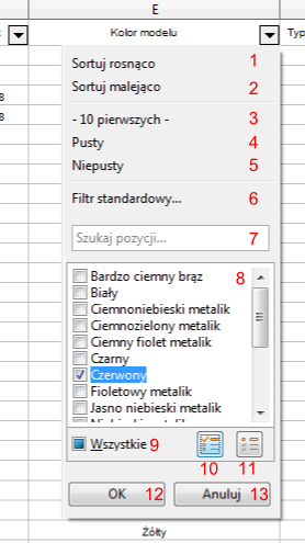 Przykład opcji autofiltru w programie Calc pakietu LibreOffice