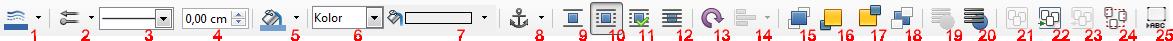Widok paska narzędziowego Formatowanie dla obiektów wektorowych osadzonych w dokumencie programu Writer pakietu LibreOffice