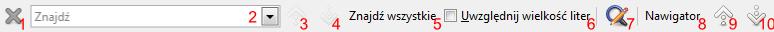 Pasek narzędziowy Znajdź w programie Writer pakietu LibreOffice