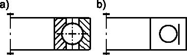 Łożysko kulkowe: <b>a)</b> w przedstawieniu uproszczonym; <b>b)</b> w przedstawieniu umownym.