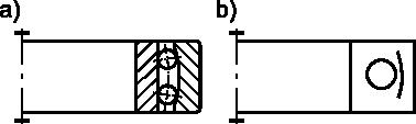 Łożysko kulkowe wahliwe: <b>a)</b> w przedstawieniu uproszczonym; <b>b)</b> w przedstawieniu umownym.