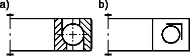 Łożysko kulkowe skośne jedno-rzędowe: <b>a)</b> w przedstawieniu uproszczonym; <b>b)</b> w przedstawieniu umownym.