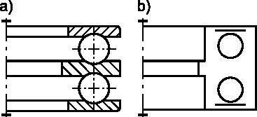 Łożysko kulkowe wzdłużne dwu-kierunkowe: <b>a)</b> w przedstawieniu uproszczonym; <b>b)</b> w przedstawieniu umownym.