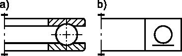 Łożysko kulkowe wzdłużne jedno-kierunkowe: <b>a)</b> w przedstawieniu uproszczonym; <b>b)</b> w przedstawieniu umownym.