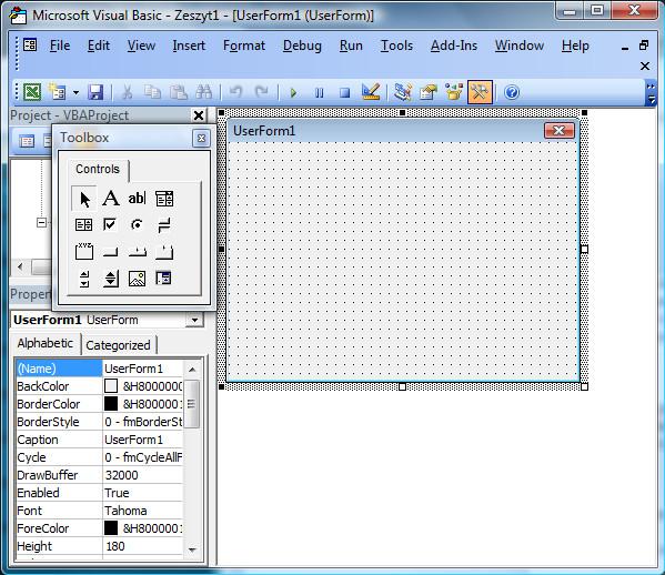 Microsoft Visual Basic - dodawanie formy okna programu