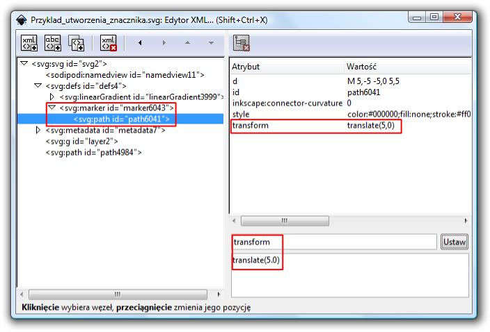 Modyfikacja ustawień znacznika w programie Inkscape