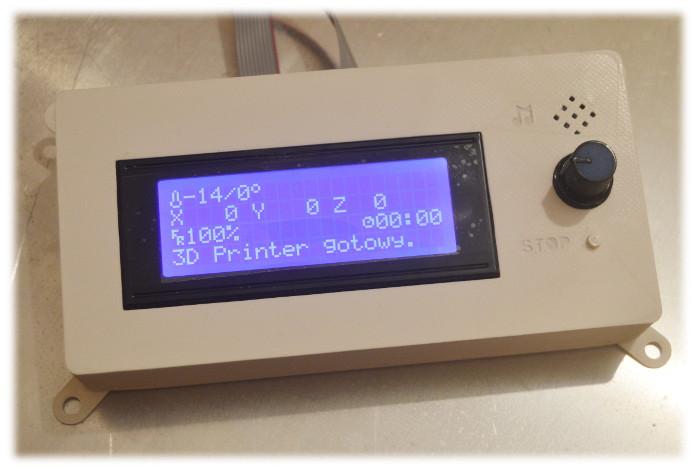 Widok przodu wydrukowanej obudowy do wyświetlacza LCD z 2004 roku przeznaczonego pod moduł drukarki 3W Ramps 1.4