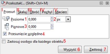 Okno Przekształć w programie Inkscape