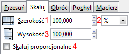 Widok zakładki Skaluj okna Przekształć w programie Inkscape