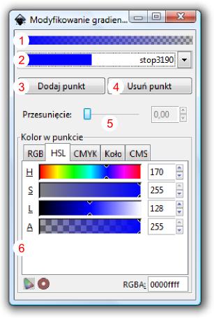 Okno dialogowe modyfikacji gradientów w Inkscap-ie