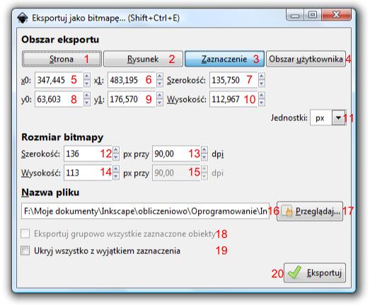 Okno dialogowe Eksportuj jako bitmapę w programie Inkscape