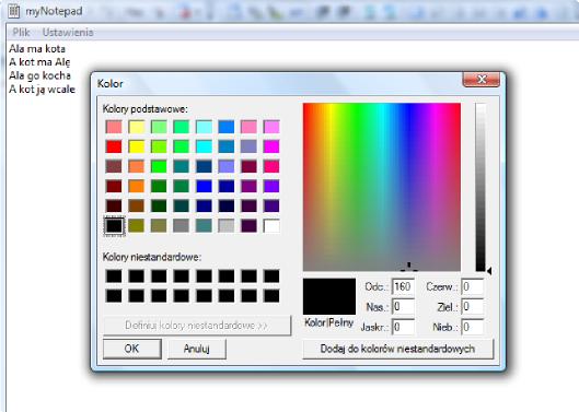 Standardowe okno kolorów