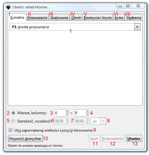 Okno Utwórz układ klonów z zaznaczoną zakładką Symetria w programie Inkscape