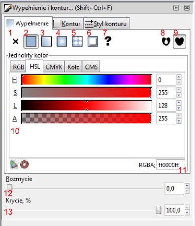 Paleta zawierająca zaawansowane opcje formatowania wypełnienia obiektów w programie Inkscape