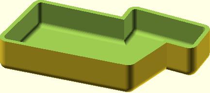 OpenSCAD efekt działania modułu rysującego naczynie z zaokrąglonymi krawędziami i narożnikami