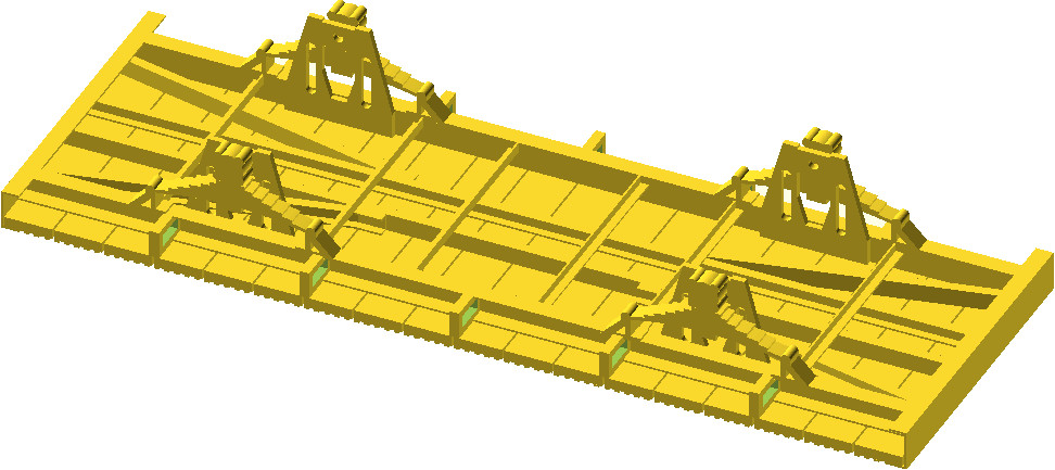 OpenSCAD - model 3W podwozia wagonu kolejowego do druku 3W