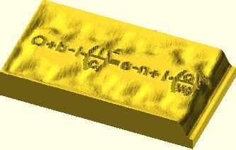 OpenSCAD - wygenerowana bryła z bitmapy png przy użyciu funkcji surface z parametrem invert ustawionym na true