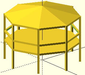OpenSCAD przykład zastosowania pętli for do powielania obiektów