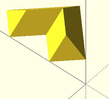 OpenSCAD przykład użycia funkcji rotate do obrotu obiektu względem osi z