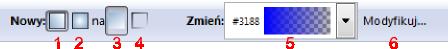 Pasek narzędziowy edycji i nadawania obiektom gradientów w Inkscap-ie