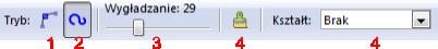 Pasek narzędziowy trybu rysowania ręcznego krzywych w Inkscap-ie