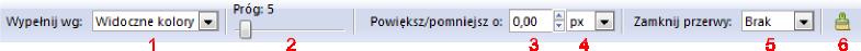 Pasek narzędziowy trybu wypełniania obszarów w Inkscap-ie