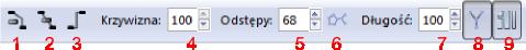 Pasek narzędziowy tworzenia łączników w Inkscap-ie