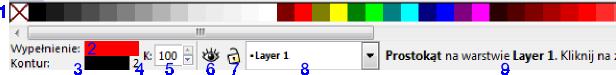 Podstawowe elementy interfejsu Inkscape-a umożliwiające zmianę konturu i wypełnienia obiektów