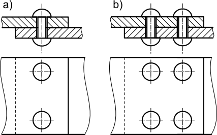 Rysunek szczegółowy połączenia nitowanego zakładkowego