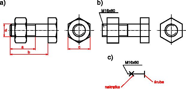 Rysunek połączenia <b>śruby zgrubnej z łbem sześciokątnym</b> z nakrętką sześciokątną: <b>a)</b> rysunek szczegółowy; <b>b)</b> rysunek uproszczony; <b>c)</b> rysunek umowny.