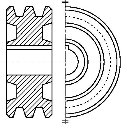 Przykład rysunku szczegółowego koła pasowego przekładni pasowej