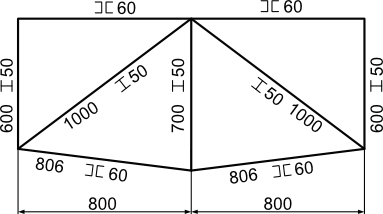 Przykład rysunku konstrukcji kształtownikowej z jej oznaczeniami wymiarowymi.