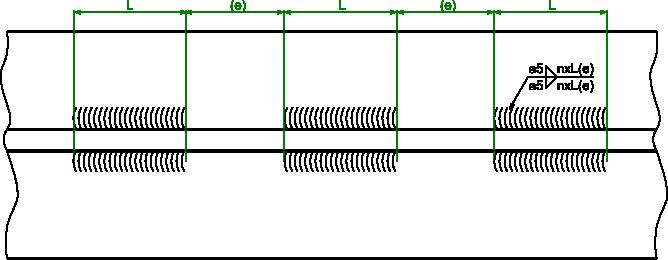 Przykład wymiarowania spoiny pachwinowej symetrycznej przerywanej.