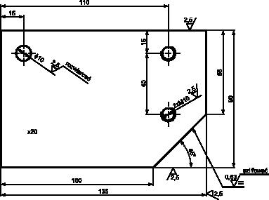 Przykład praktyczny oznaczania chropowatości powierzchni na rzucie prostokątnym obiektu.