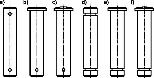 Ilustracja różnych typów sworzni