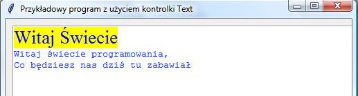 Widok programu napisanego w Pythonie z wykorzystaniem modułu tkinter i kontrolki Text