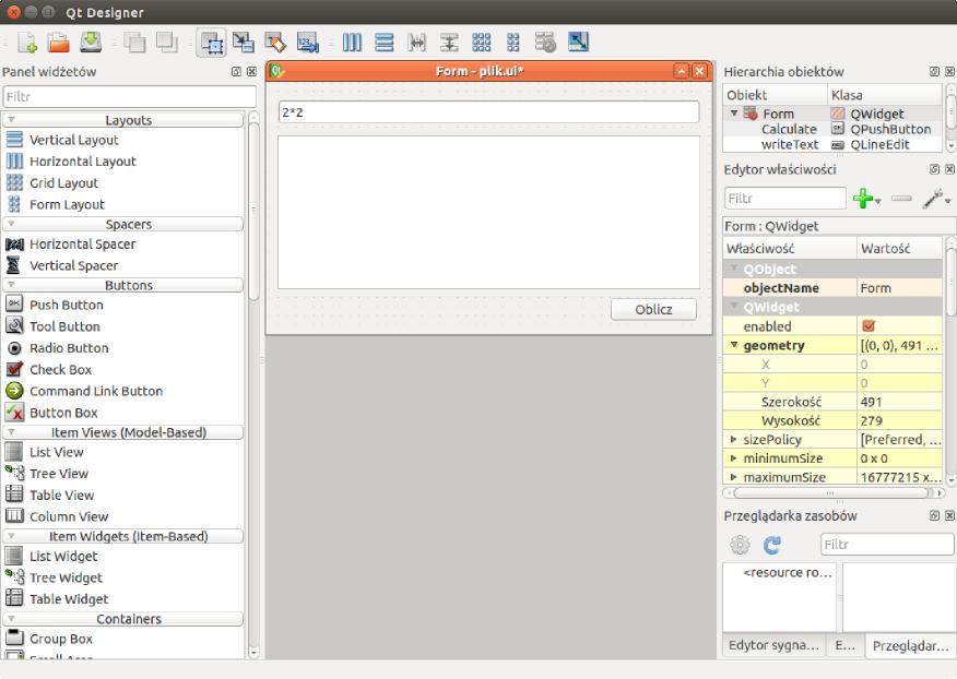 Widok Qt Designer-a z utworzonym interfejsem graficznym przyszłego programu