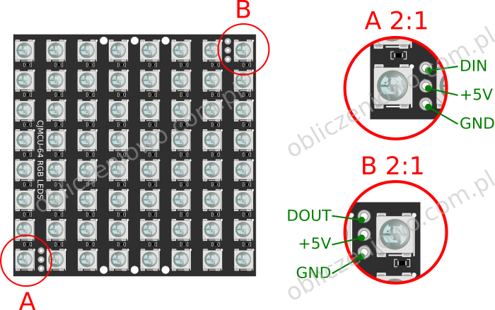 Moduł LED 8x8 RGB