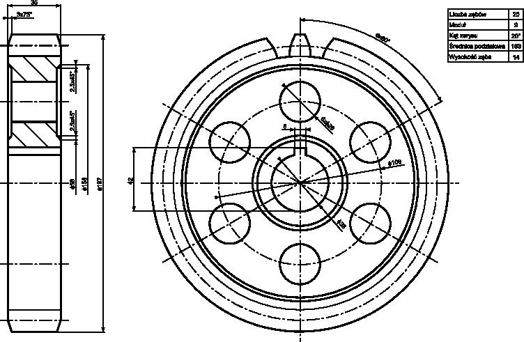 Przykład szczegółowego koła walcowego z zębami prostymi.