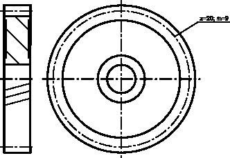 Rysunek koła zębatego z zębami skośnymi