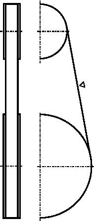 Rysunek schematyczny przekładni pasowej